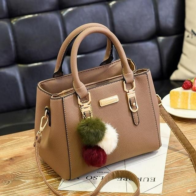 Photo of Luxury Handbag Women Bags Women Hairball Shoulder Bag  Ladies Hand Bags Vintage Leather Messenger Bag  Female Hand Bolso Bags – Green 23x14x18cm