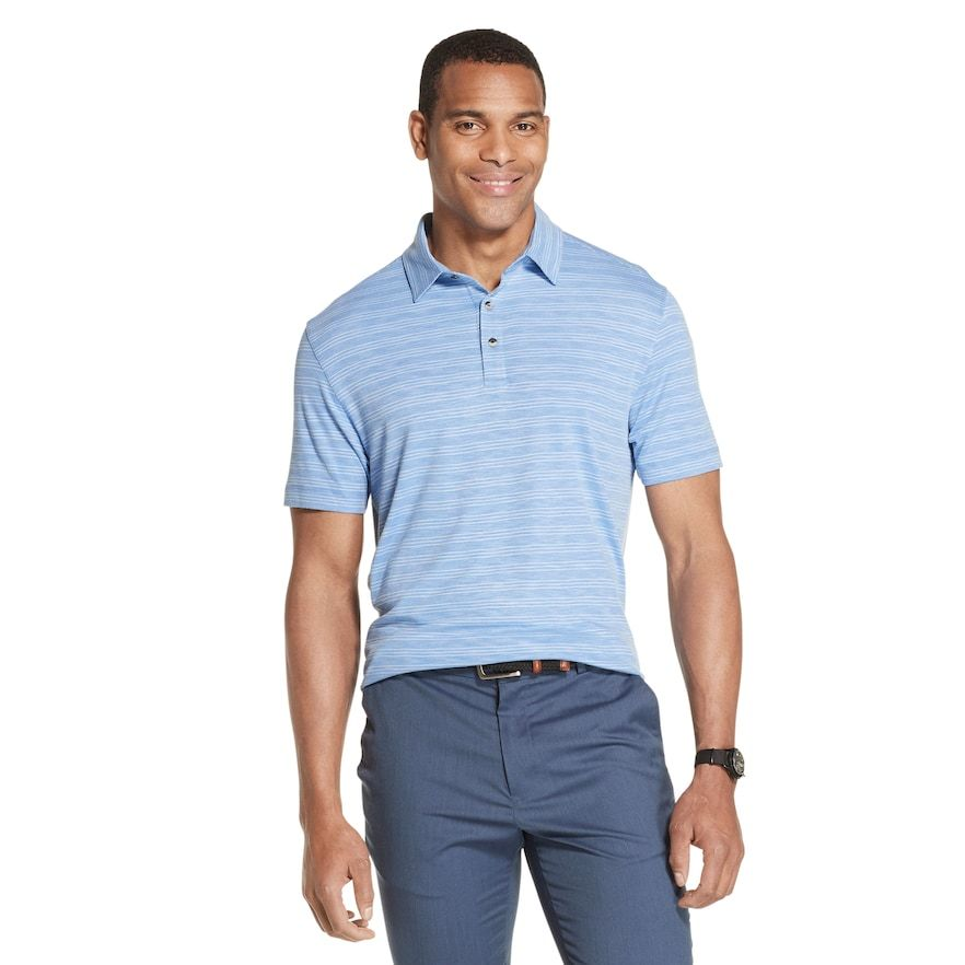 Men S Van Heusen Air Classic Fit Striped Performance Polo Mens Tops Traditional Sleeve Polo