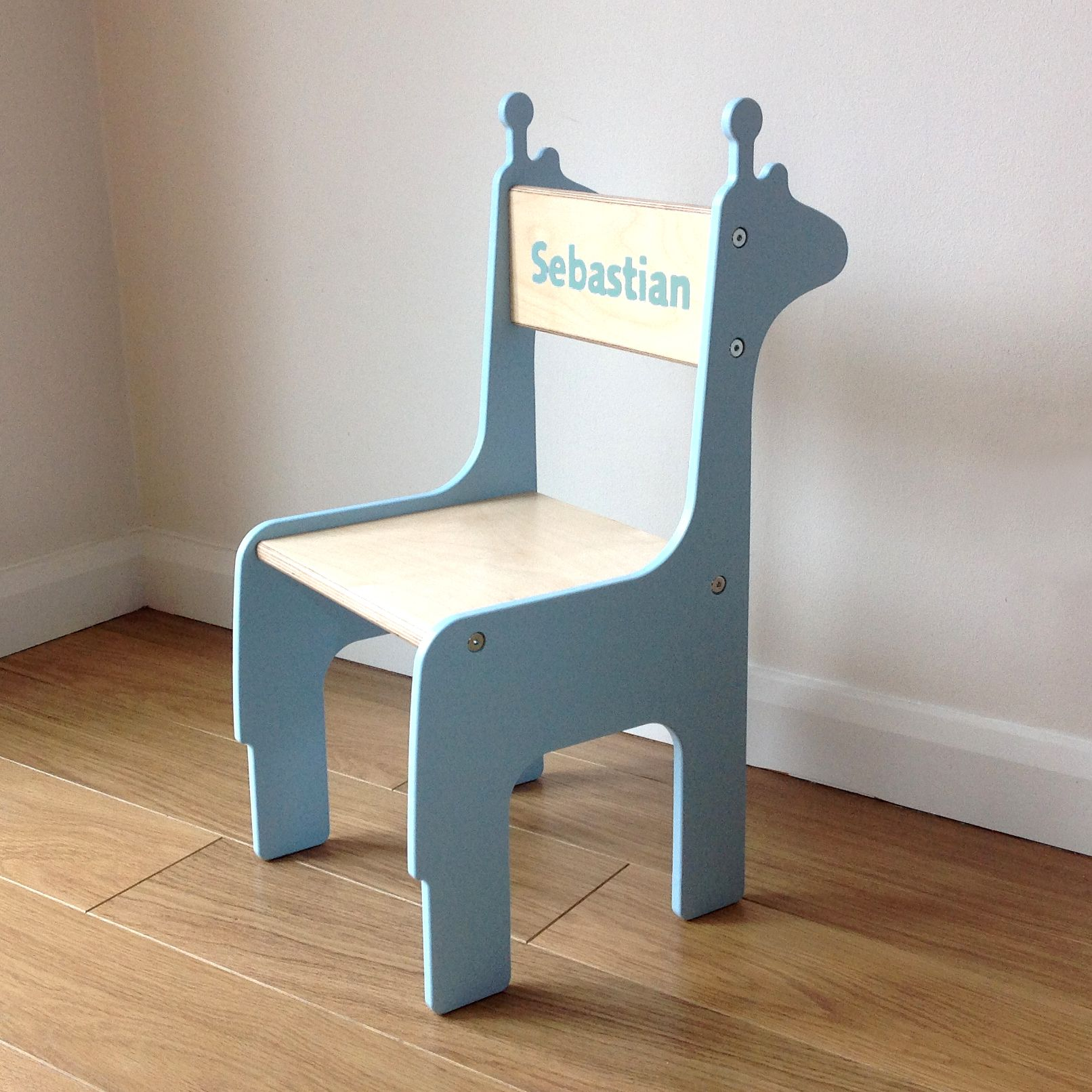 Personalised Blue Giraffe Chair From Piggl. Handmade In Chester, UK