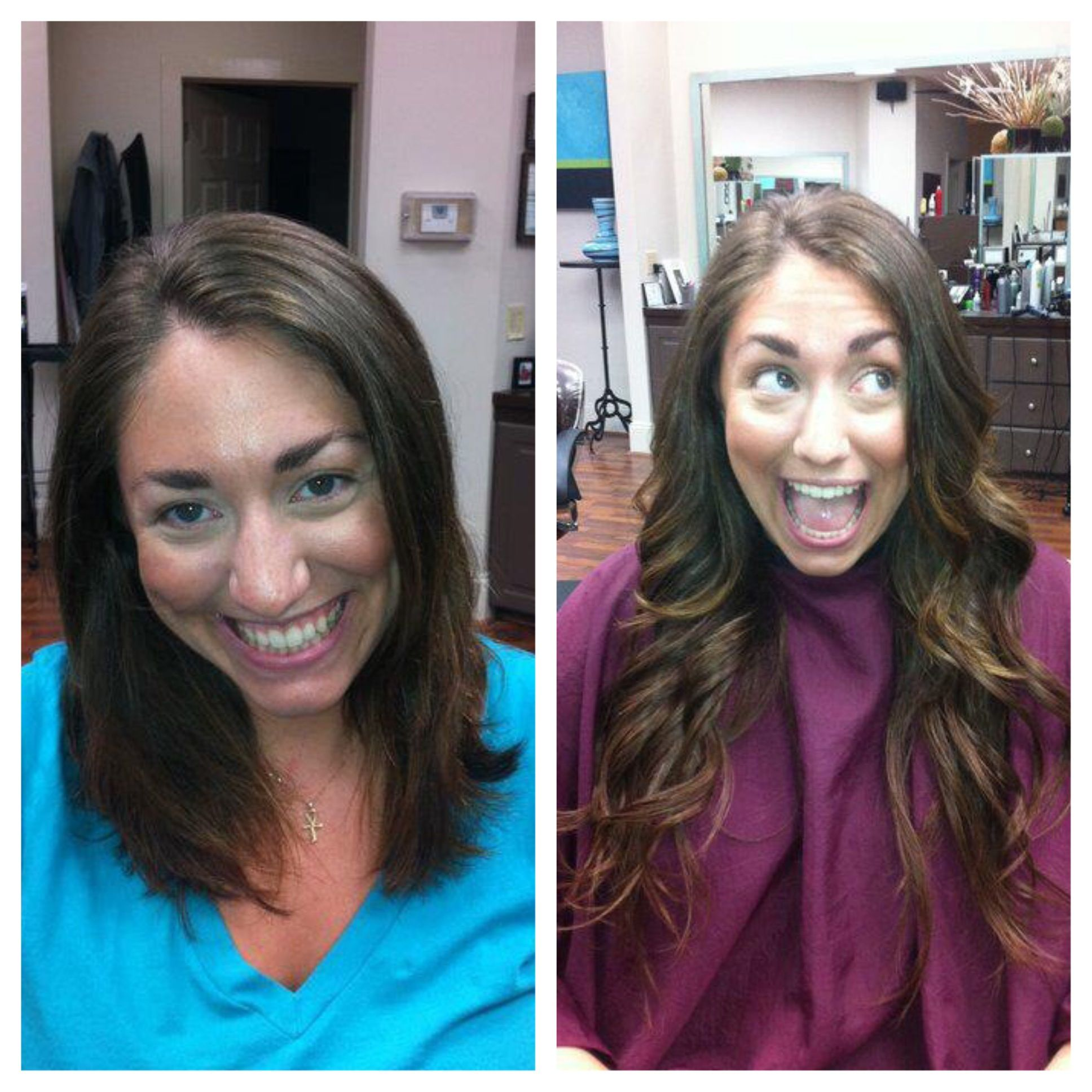 before and after extensions long hair wavy curly Lex Moore @ Style