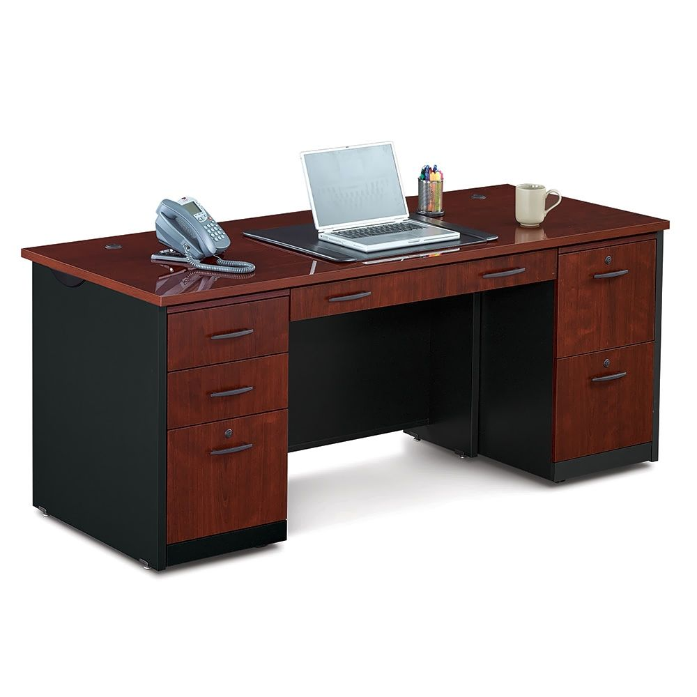 Locking Double Pedestal Executive Straight Desk Sauder Office