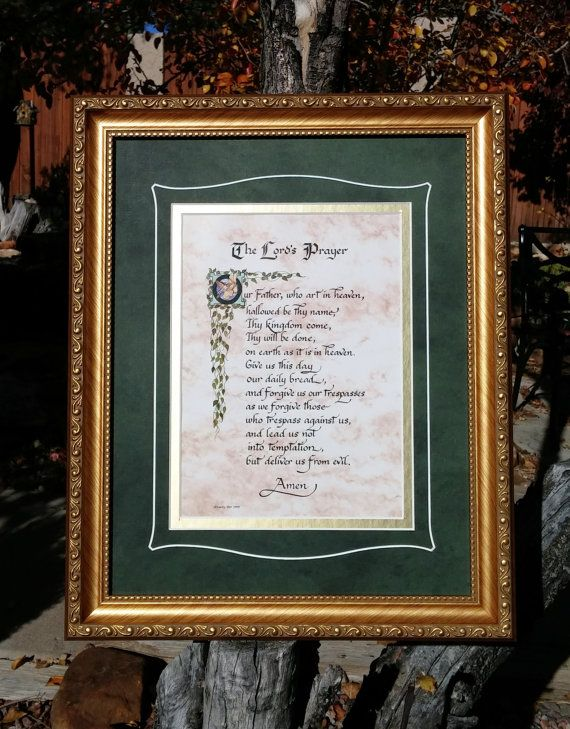 The lords prayer art and calligraphy print framed and matted gift and family wall decor with