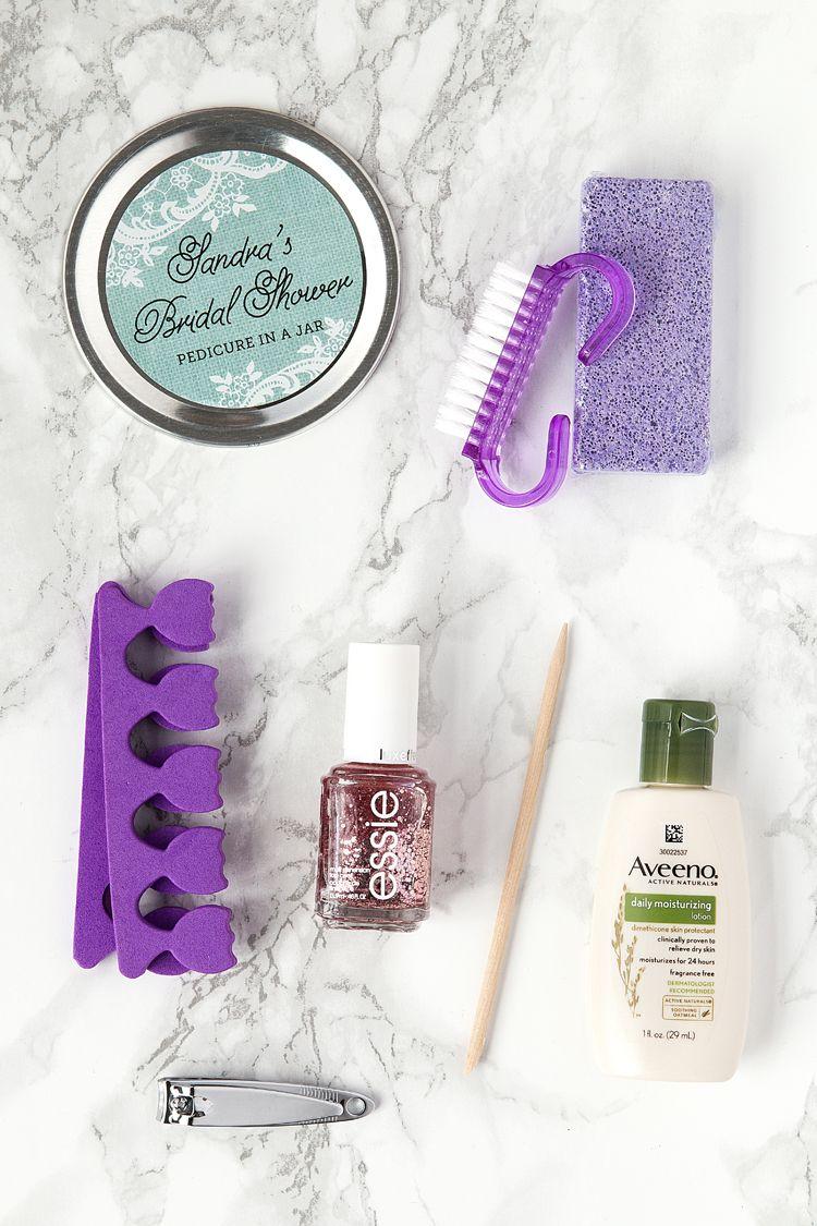 Pedicure in a Jar Bridal Shower Favors | Shower favors, Pedicures ...