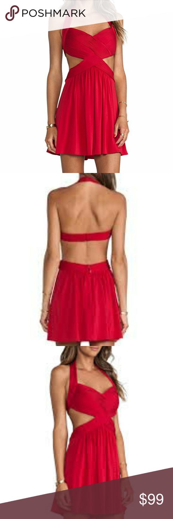 Host pick bcbg red hulter backless dress sz large boutique