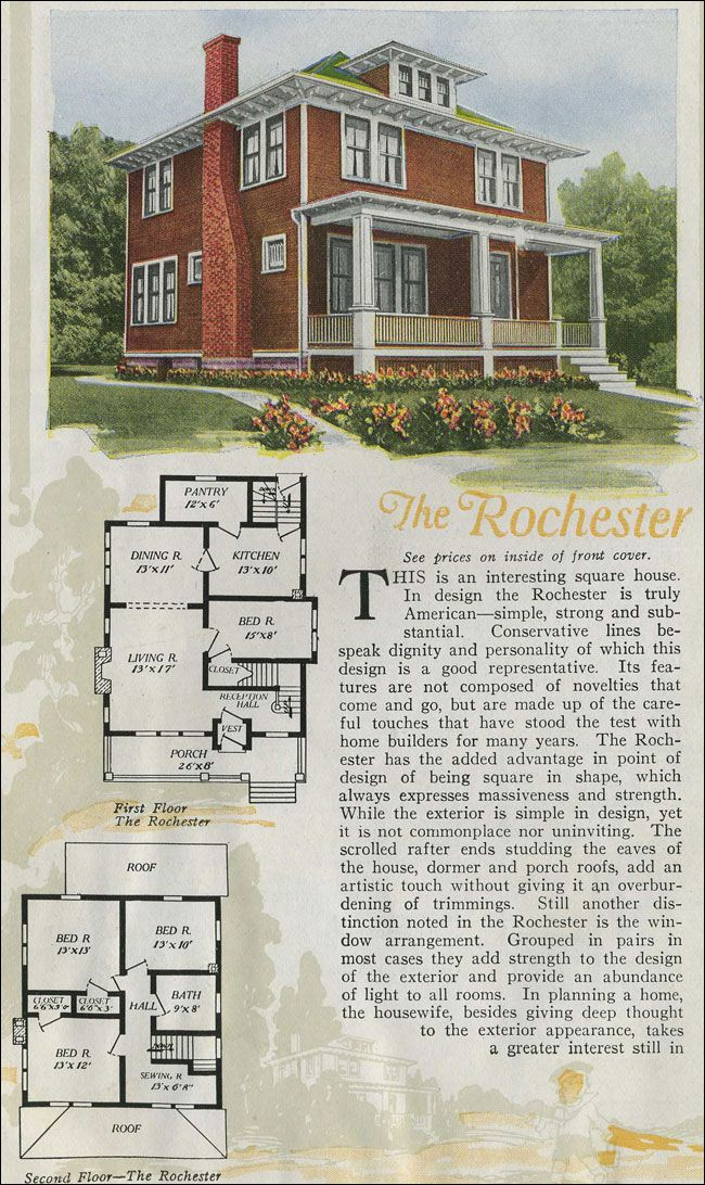 1920 Aladdin Foursquare Kit House The Rochester Square House Plans Vintage House Plans Vintage House