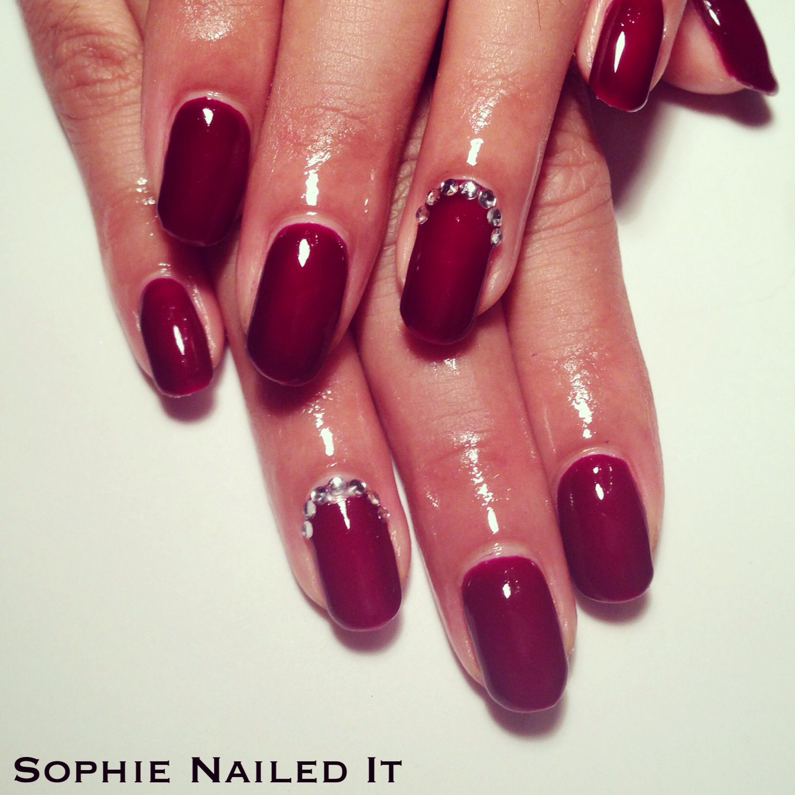 Gorgeous deep red Bio Sculpture gels with gem embellished accent ...