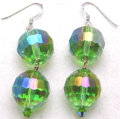 Vintage Large Green Faceted Beads Dangle Earrings 925 Sterling Silver