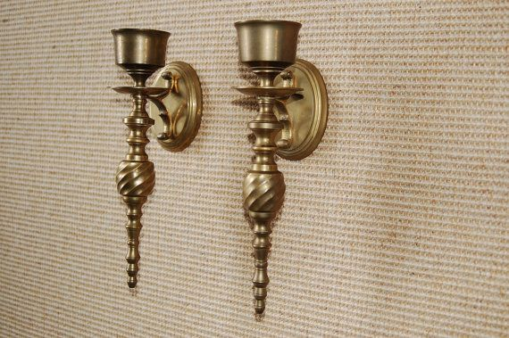 Vintage Brass Candleholders Brass Wall Sconce Candlestick Holders