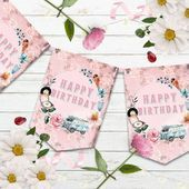 Shabby Chic Campervan Bunting Retro VW Banner Party Decoration Birthday Party Decoration Pink Camper Van Retro