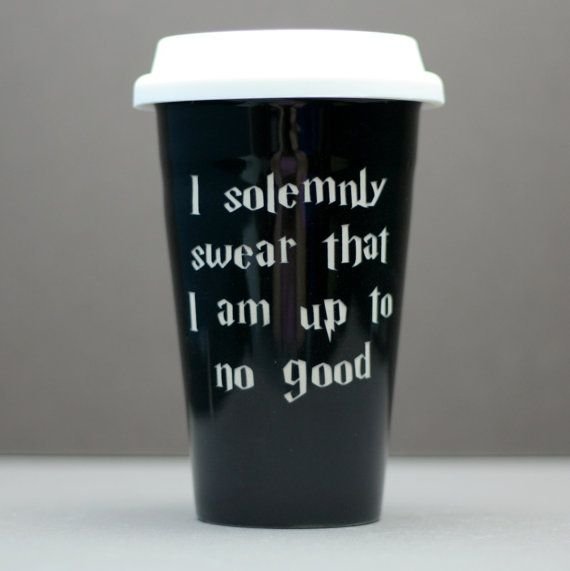 I Solemonly Swear Harry Potter Inspired Sandblasted Ceramic 10oz Travel Coffee Mug Tea Gl On