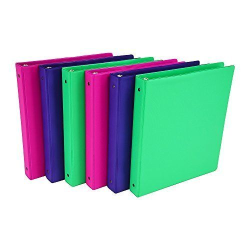 Samsill Fashion Color 3 Ring Binder, 1 Inch Round Rings, 6 Pack