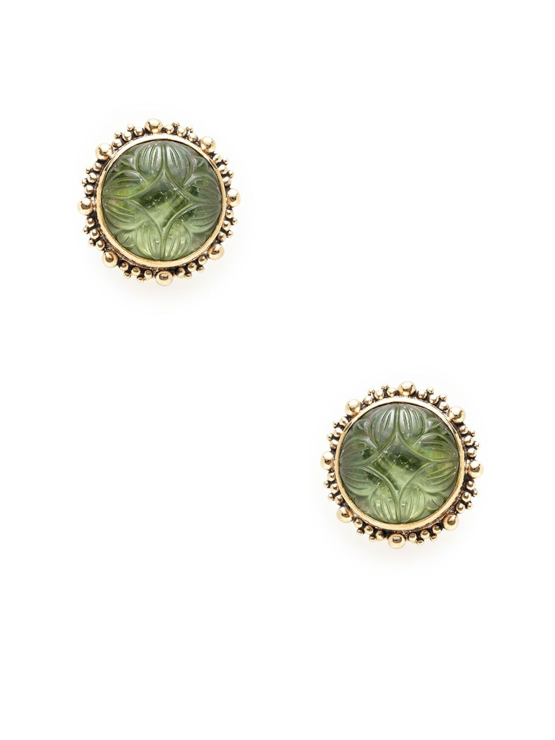 Carved Green Mother Of Pearl Doublet Disc Earrings by Stephen Dweck at Gilt