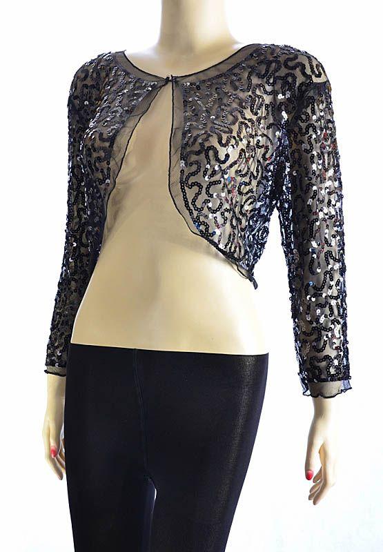 515fcb69686b0 Ladies Sequin Chiffon Long Sleeve Top Bolero Womens Shrug Cardigan ...