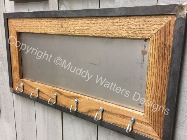 Magnetic steel message board made with oak and steel frame. Hooks ...