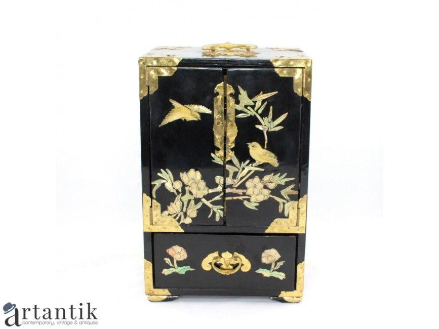 Dulapior Oriental Pentru Bijuterii Caseta Vintage Pentru Bijuterii Lemn Lacquer Intarsie De Sidef Natura Asian Antiques Asian Jewelry Scandinavian Jewelry