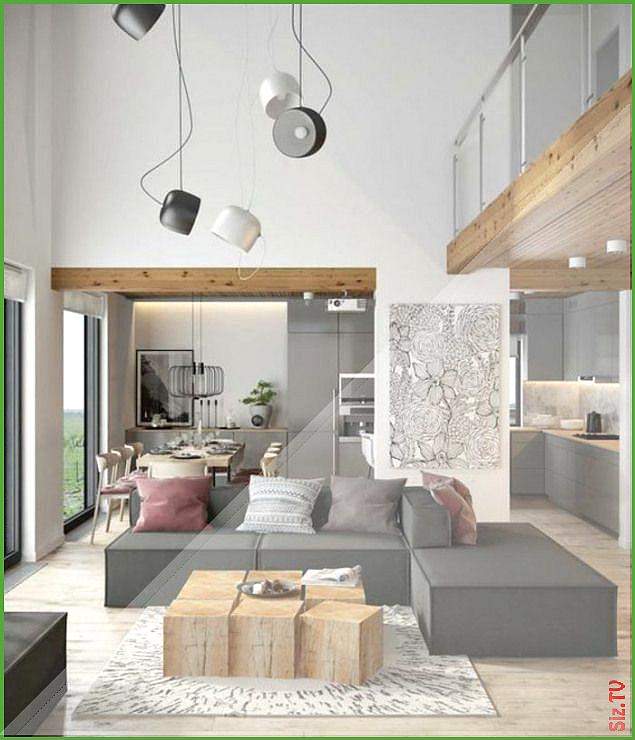 deco moderne salon table modulable en bois canap s gris ...