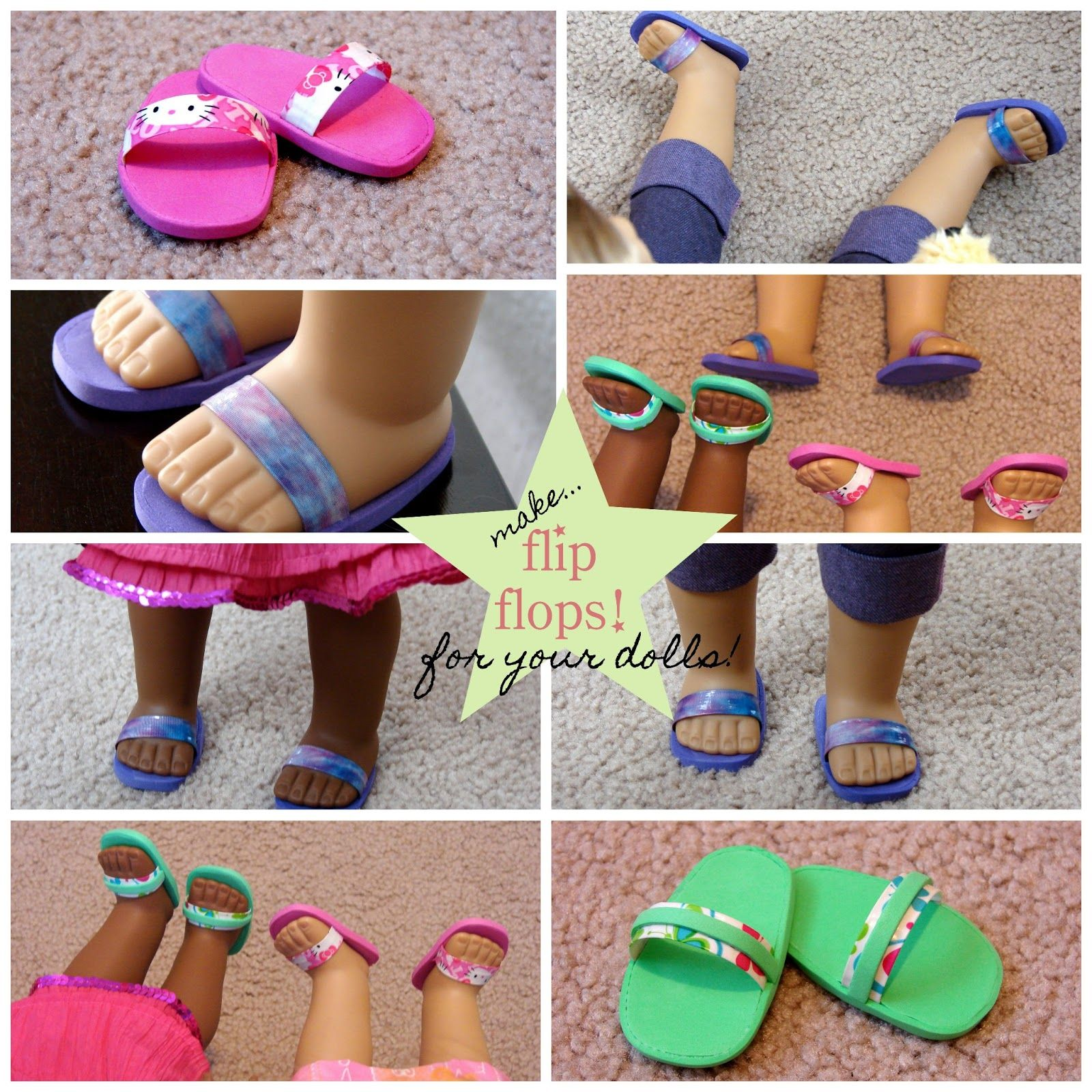 American Girl Doll Play: Doll Craft - Make Your Doll Flip Flops! Foam sheets and duct tape. #americangirldollcrafts