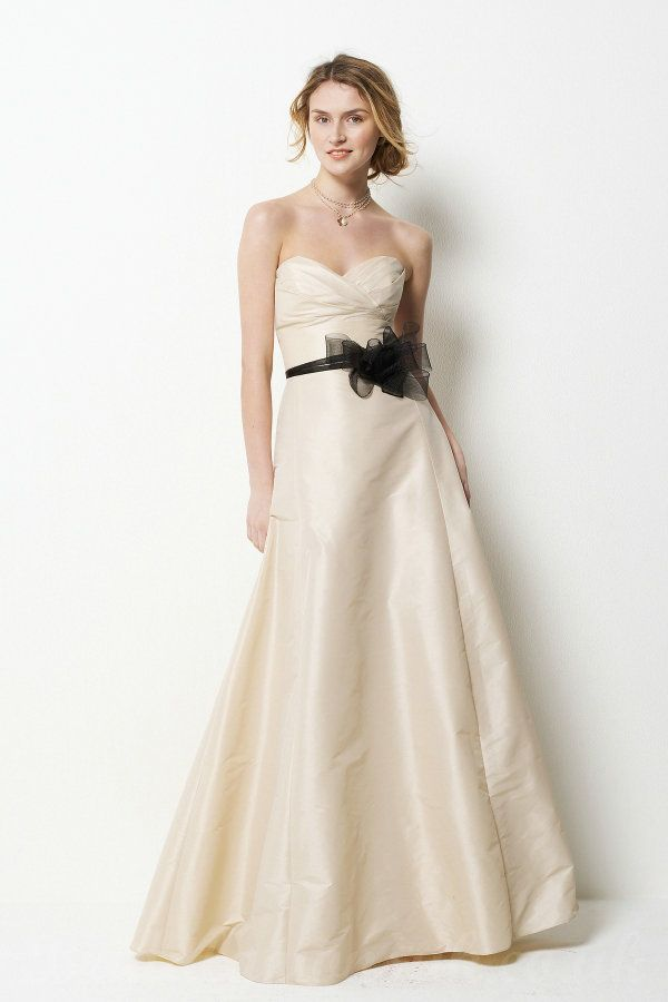 Cream White Prom Dress With Black Bow