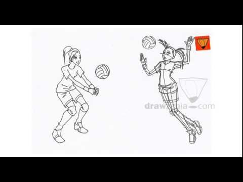 Anime Drawing Intermediate 54 Girl Playing Volleyball Youtube Drawing People Drawings Anime Drawings