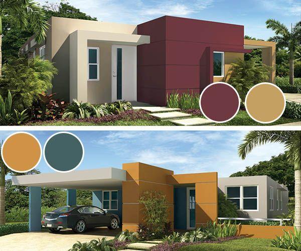 Combinacion de colores para casas de un piso modernas Pisos para exteriores de casas modernas