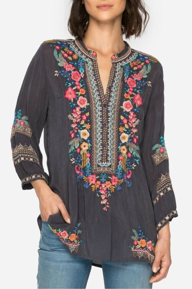Best Johnny Was Sarabeth Grey Women S Embroidered Tunic Top 640 x 480