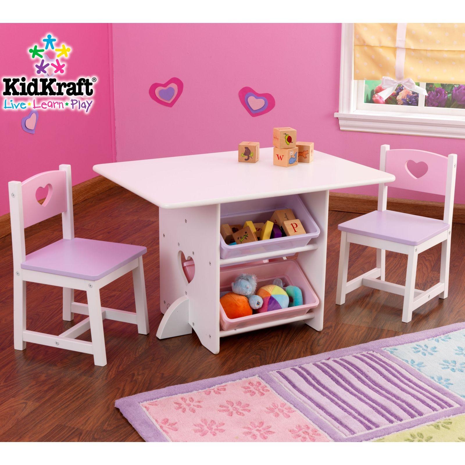 Ensemble Table Avec 4 Bacs De Rangement Et 2 Chaises Rose Et Violet Meuble Enfant Bac De Rangement Table Et Chaise Enfant