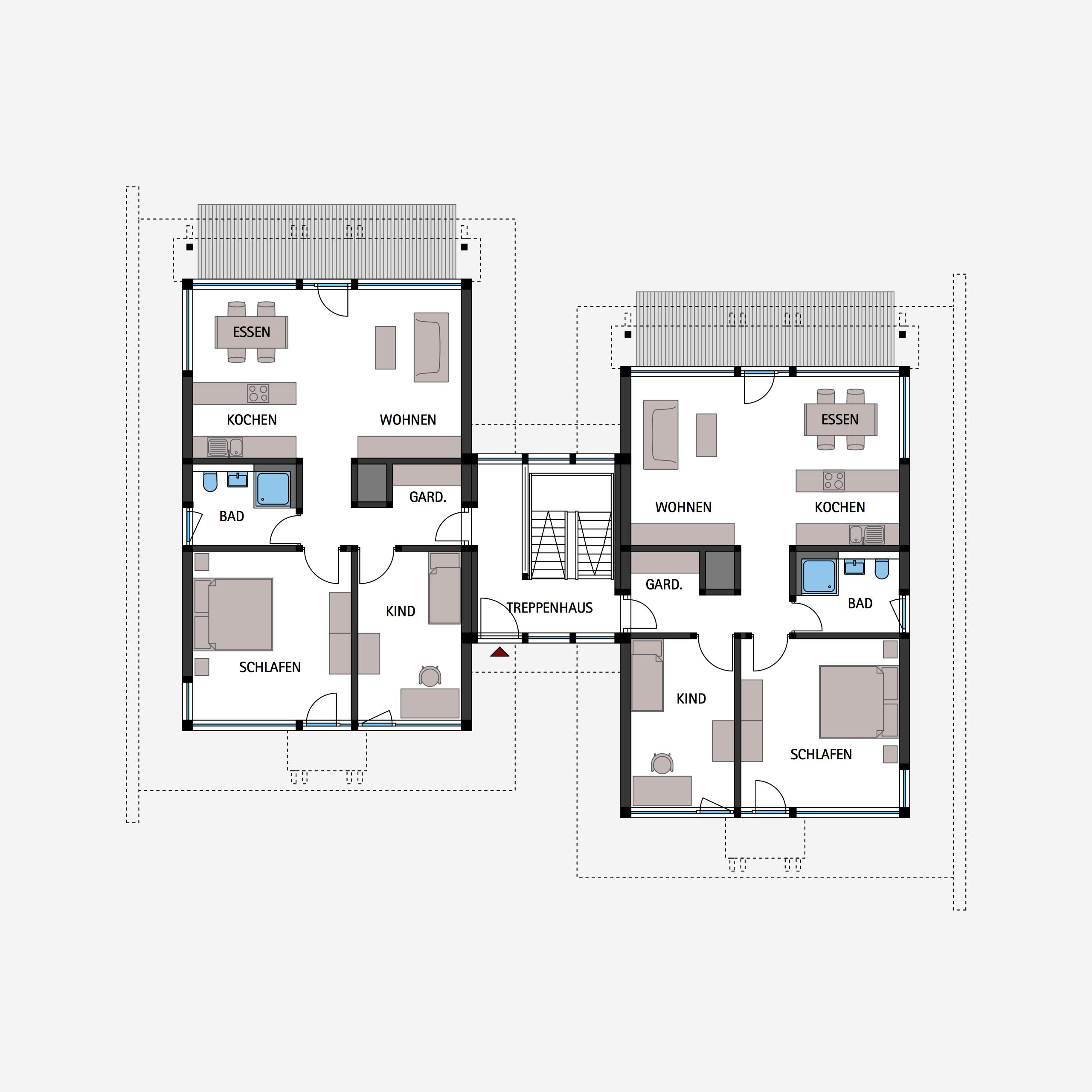 HUF Fachwerkhaus Grundriss Erdgeschoss Mehrfamilienhaus in