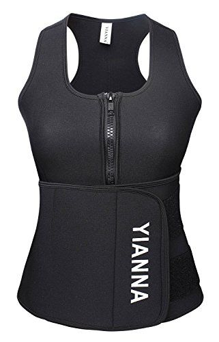 c333e6f4fb5 YIANNA Neoprene Sauna Suit Tank Top Vest with Adjustable Shaper Waist  Trainer Belt at Amazon Women s Clothing store