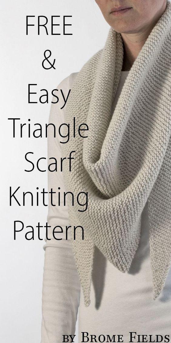 Grab N Go : Triangle Shawl Knitting Pattern - Brome Fields Easyknittingpattern - Diy Crafts