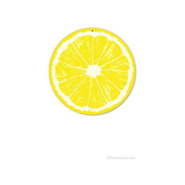 Lemon Fruit Slice Yellow Round Metal Kitchen Sign (120 CNY) ❤ liked ...