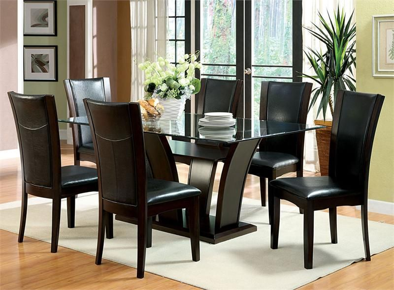 72 manhattan i glass dark cherry dining table set for Cherry formal dining room sets