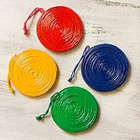 Recycled paper ornaments, 'Cycle of Joy' (set of 4)