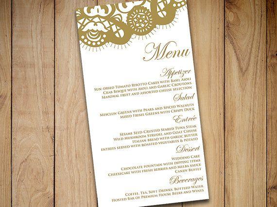 Printable Menu Template Instant Download - DIY Wedding Menu \ - bar menu template