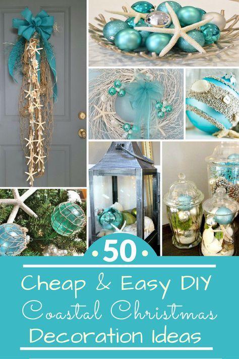 50 Cheap  Easy DIY Coastal Christmas Decorations Homes - christmas decorations diy