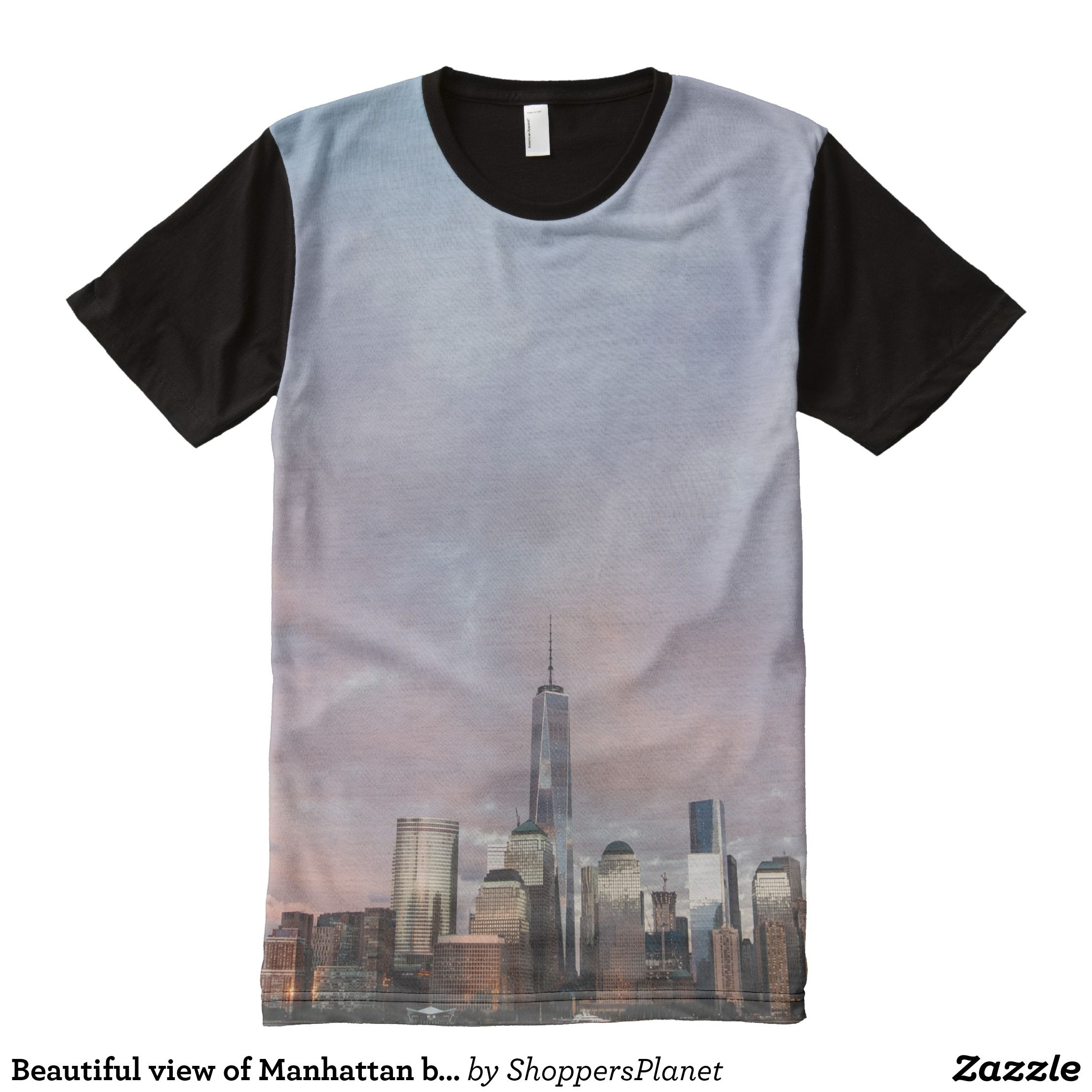 Beautiful View Of Manhattan Buildings Near River All Over Print T
