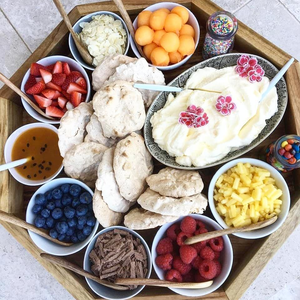 Perfect @theantipastoqueen  mini pavlova board  Using my mums secret pavlova recipe to make this cute  DIY dessert board today. Add your own toppings for your tastebuds. Something for everyone Great for kids parties, high tea, luncheons, or as an add on to our amazing Antipasto platters and grazing tables.