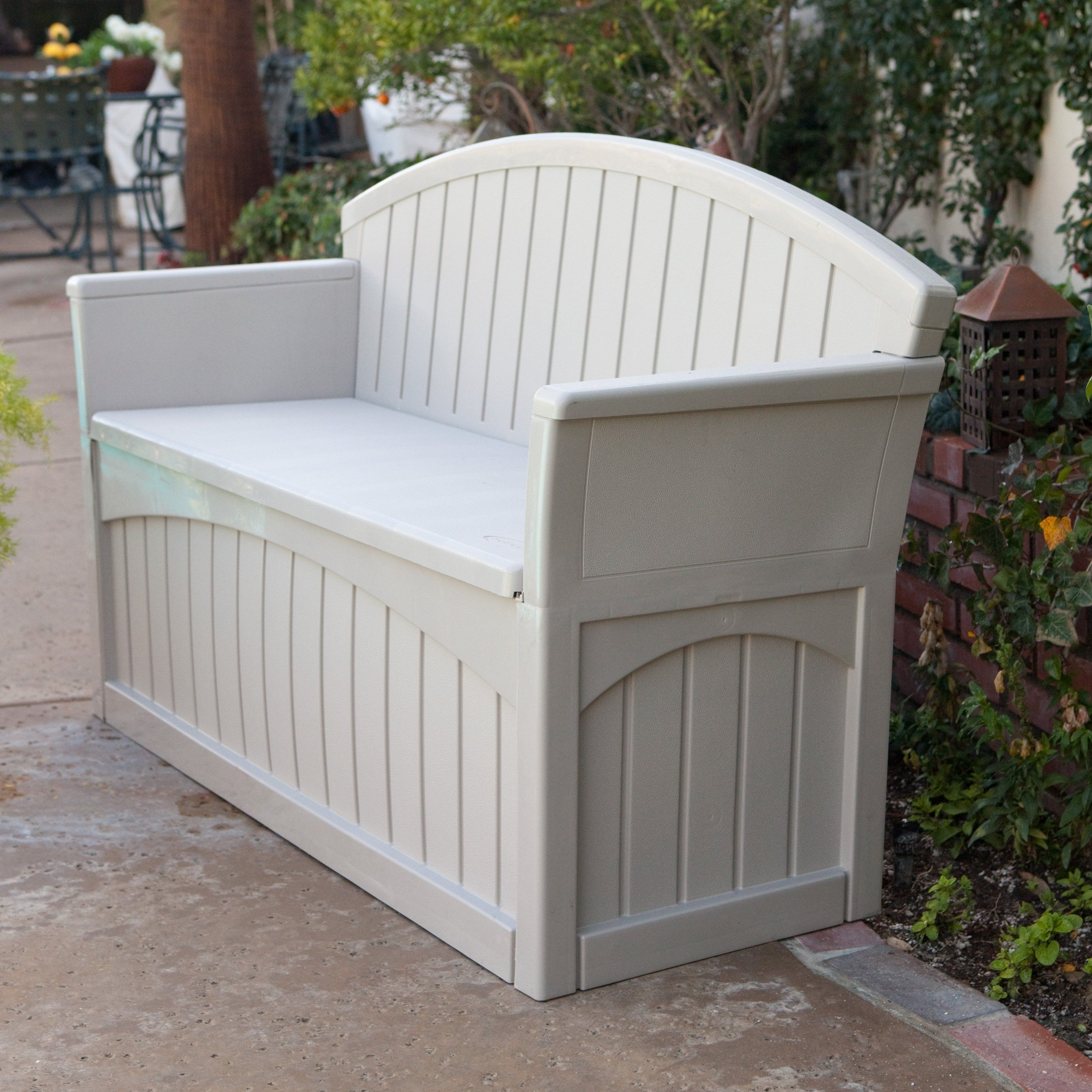 Suncast Pb6700 Ultimate 50 Gallon Resin Patio Storage Bench 116 98 Hayneedle