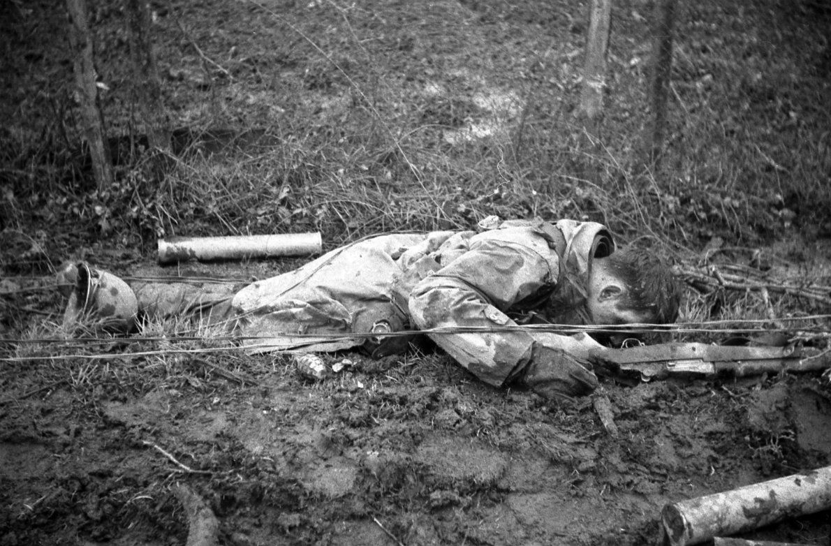 A U.S. Army soldier of the 83rd Infantry Division lies dead in the outskirts of the town of Gey during the Battle of Hürtgen Forest. The battle was the longest battle on German ground during war and is the longest single battle the U.S. Army has ever fought. The battles took place from 19 September 1944 to 16 December 1944, over barely 50 square miles (130 km), east of the Belgian-German border. On 10 December 1944, the fight for the town of Gey began. Gey was a strategic town situated in a…
