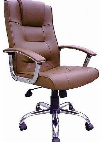 Office Furniture Online Melbourne High Back Brown Leather Faced