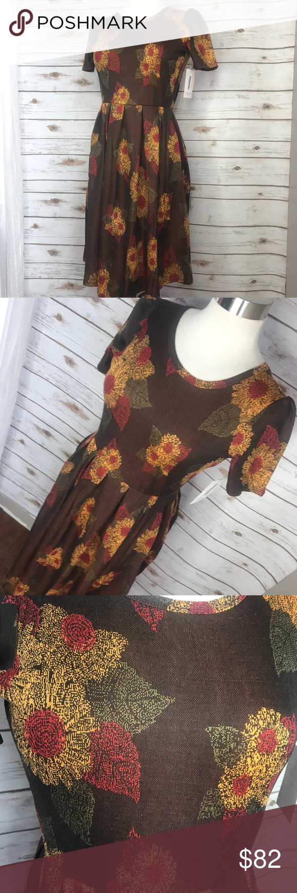 1c5c93cbea4f2 NWT XS LuLaRoe Sunflower Amelia Dress This lovely sunflower Jacquard Amelia  just screams fall! Perfect