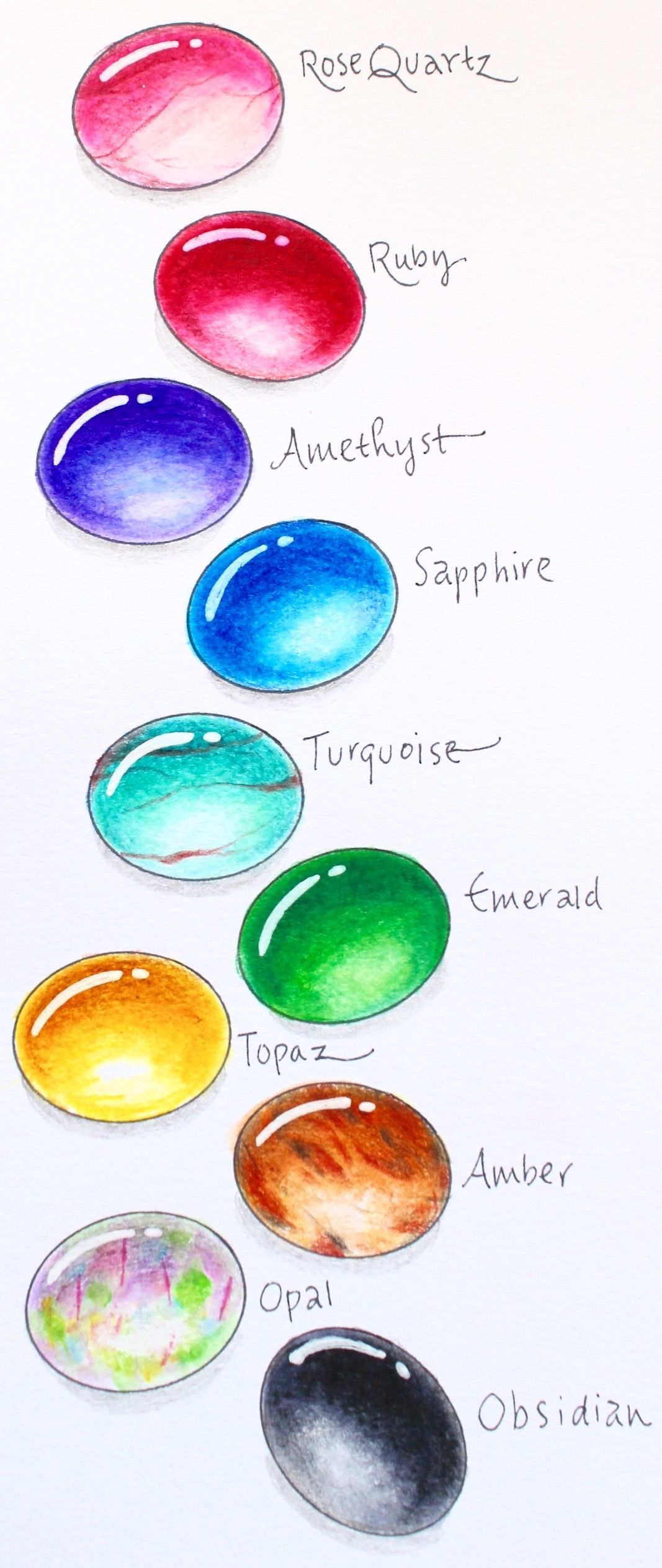 How To Draw Gems With Markers And Colored Pencils Dessin De