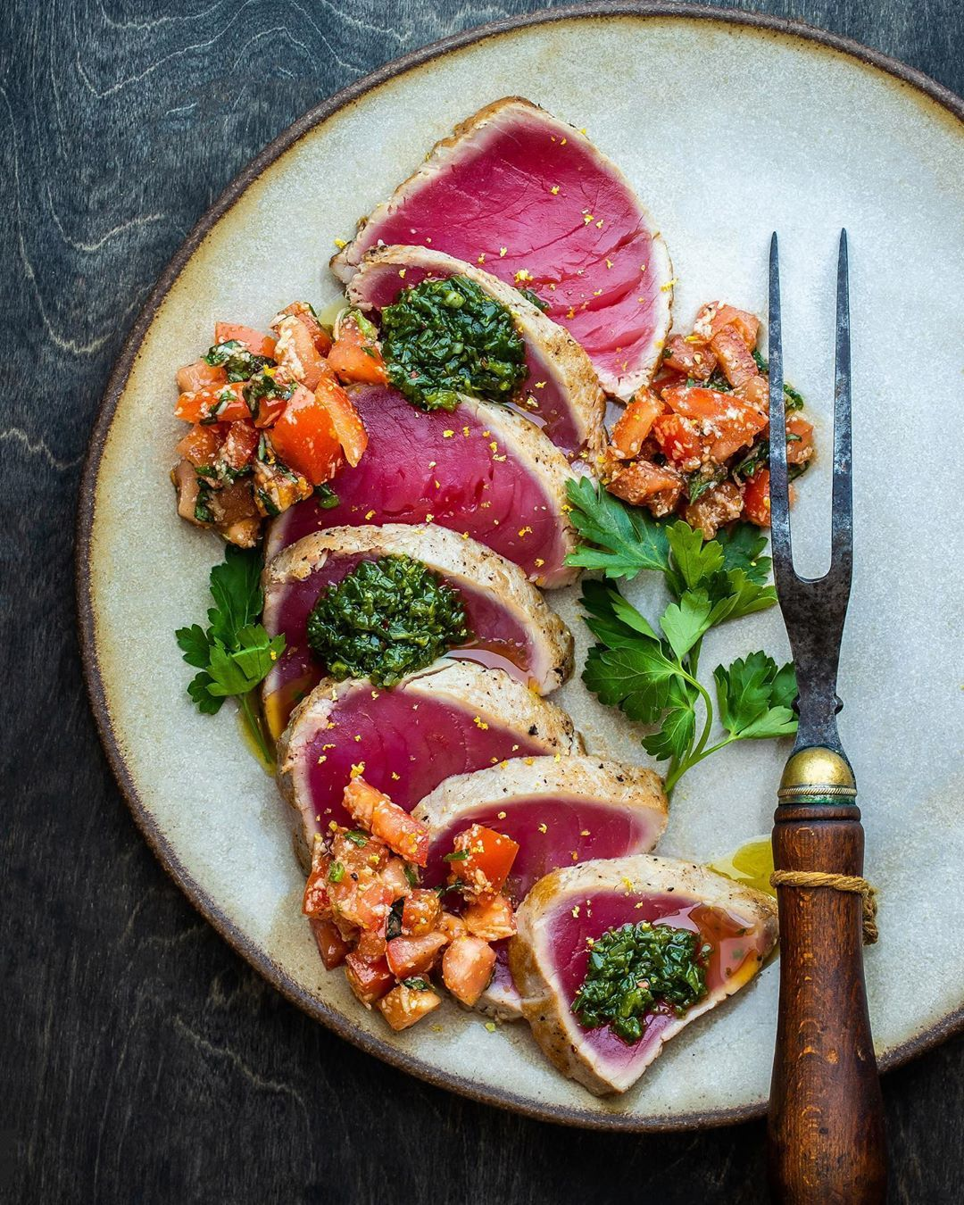 Tuesday Fresh = Seared Ahi with Bruschetta & Basil Vinaigrette. Yes please and t...,  How to Become a Gourmet