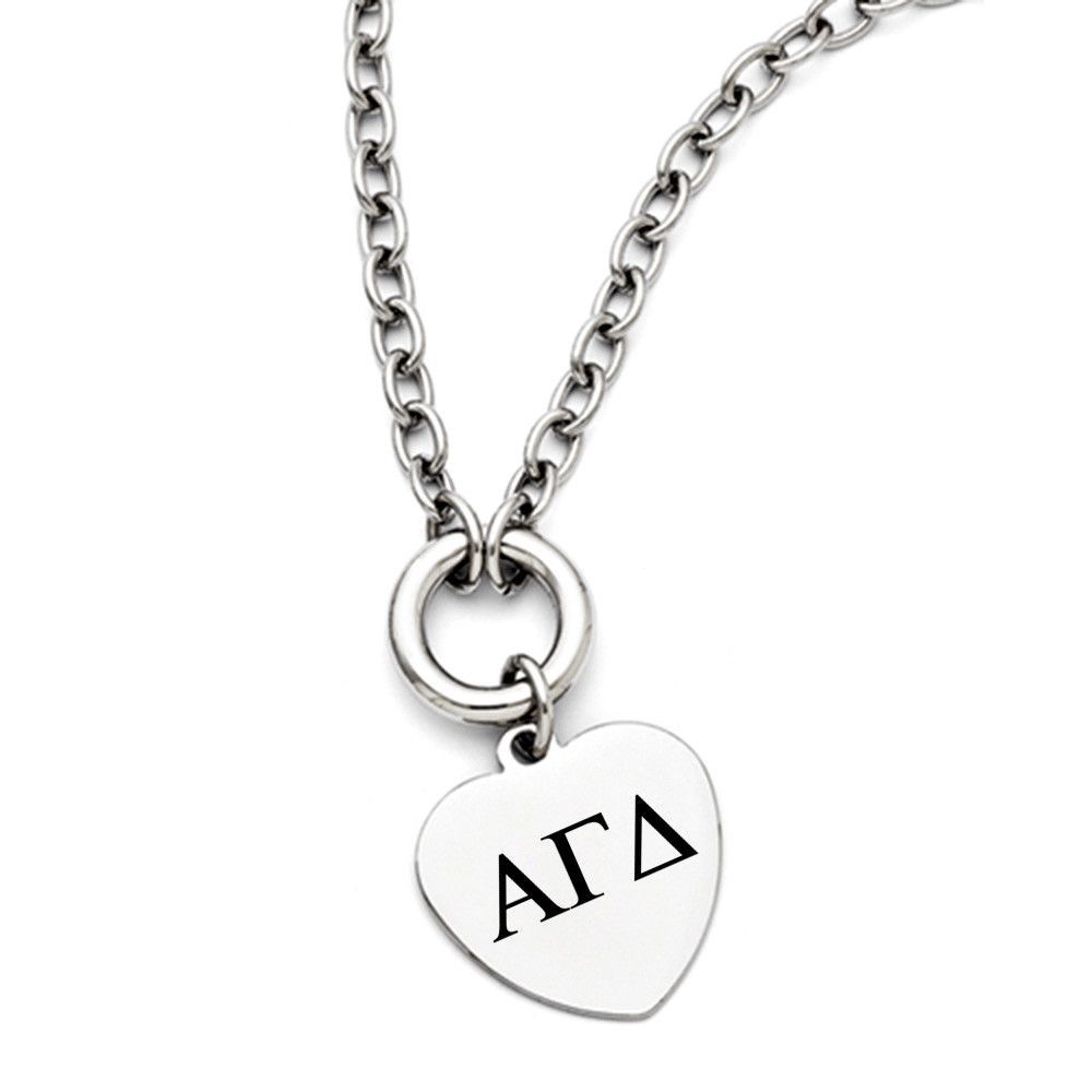 Alpha Gamma Delta Greek Letters Stainless Steel Heart Necklace
