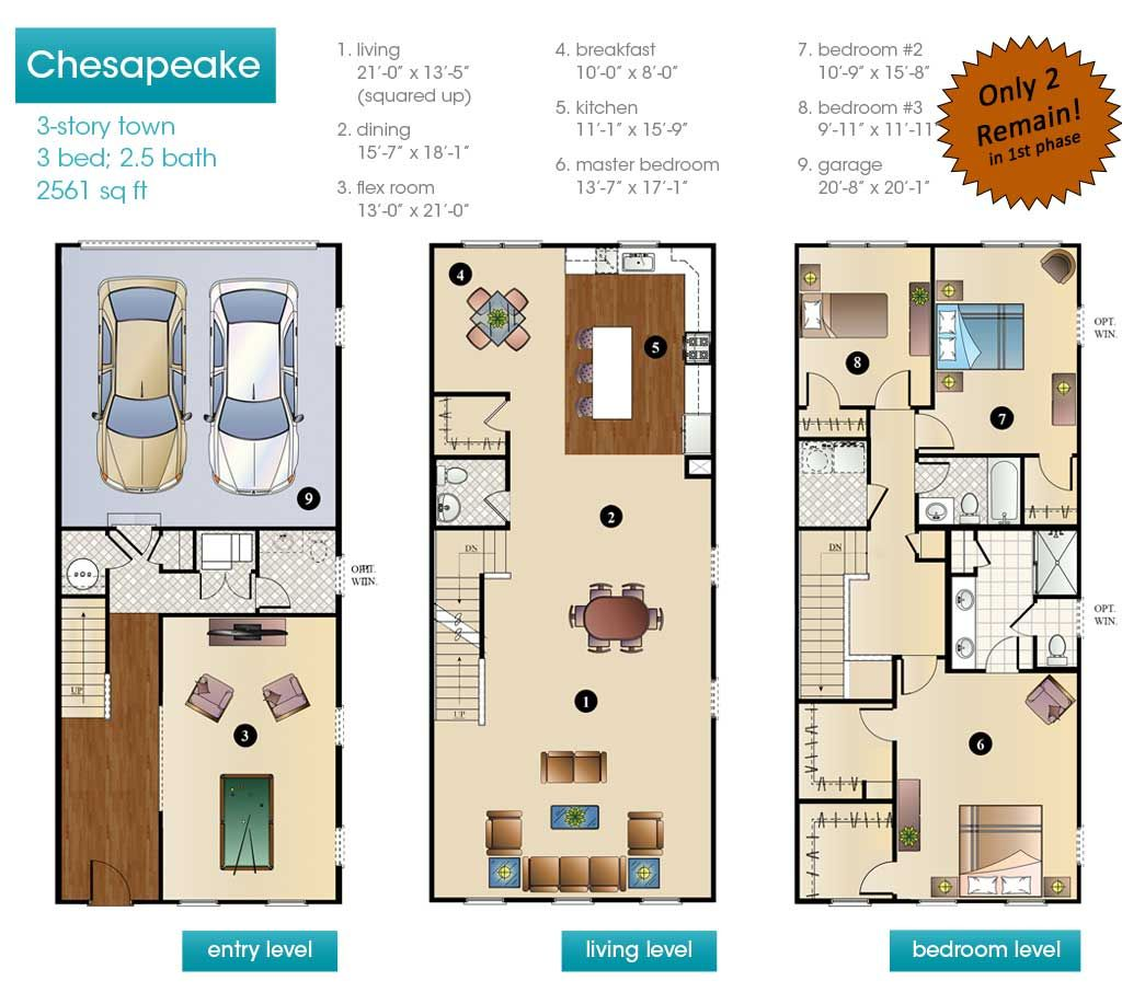 Townhouse Floor Plan 3 Car Garage Google Search: New Construction Townhouse Floor Plans