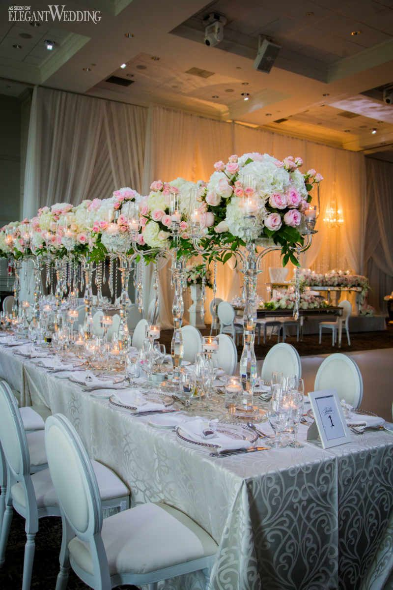 White wedding decoration ideas  Gorgeous Pink and Silver Wedding  Party ideas  Pinterest  Crystal