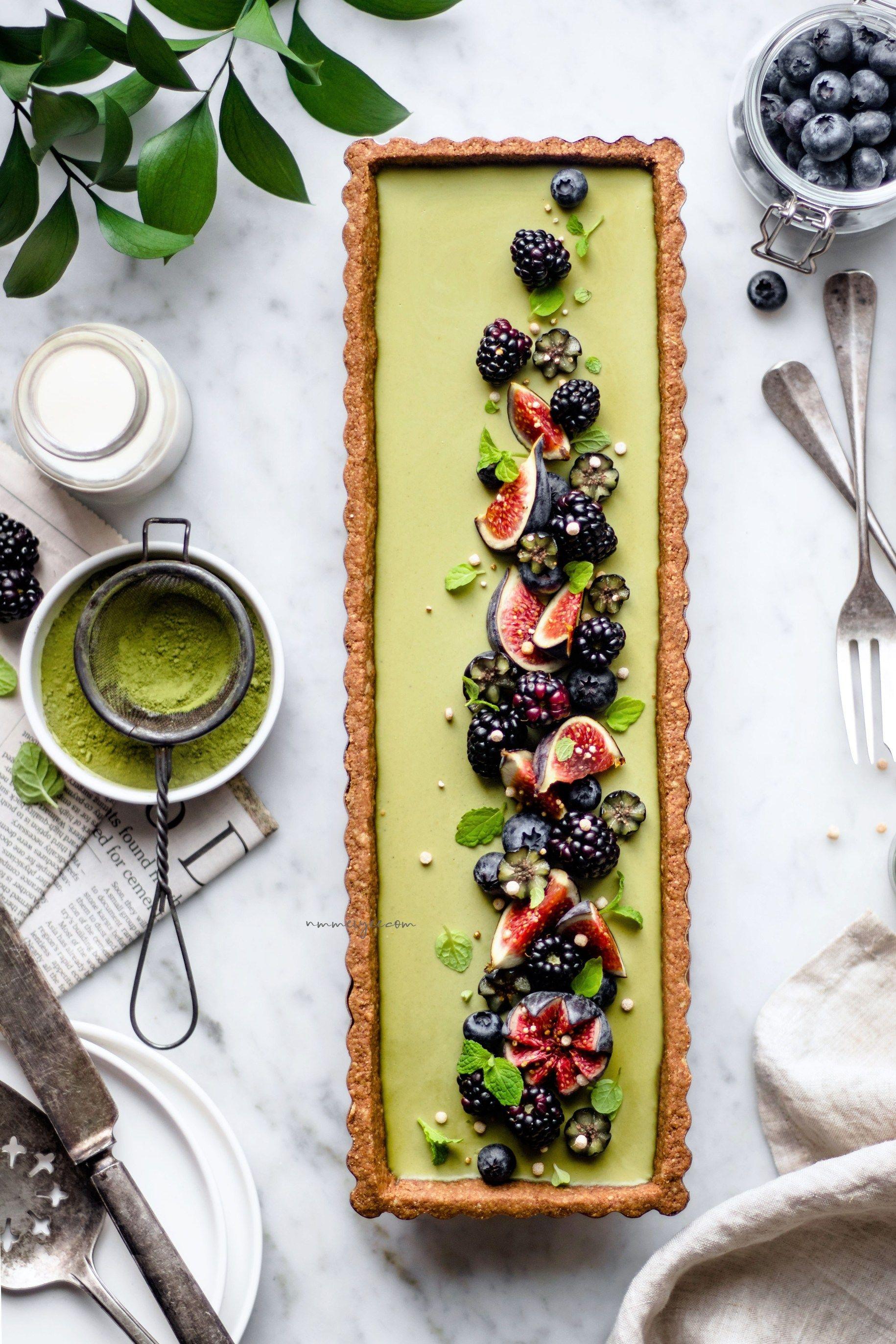 Vegan Matcha green tea tart (Gluten free & refined sugar