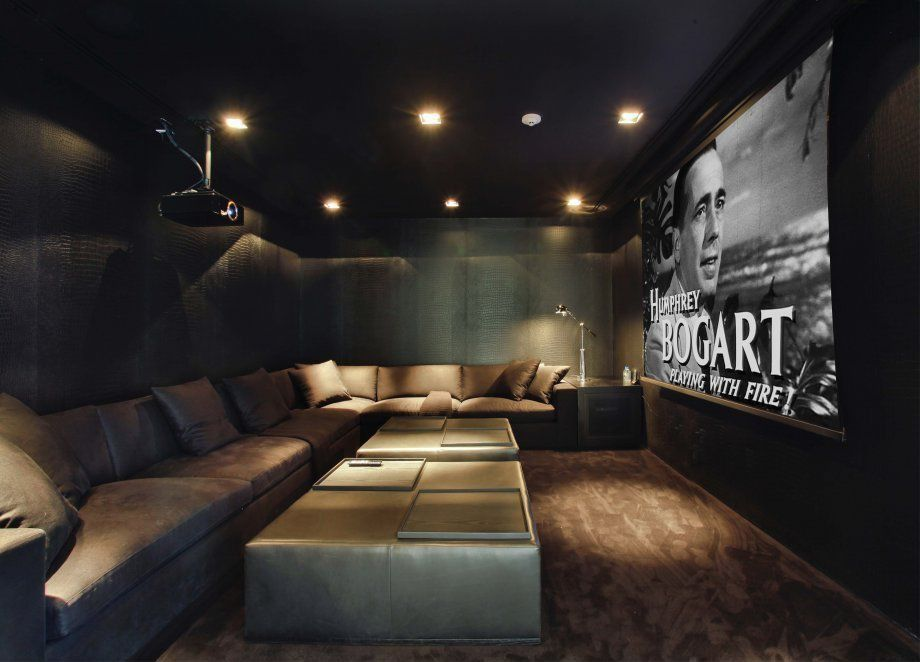 Modern Room With Projector Screen Bulbrite Dimmable Led Downlight Retrofit Recessed Lighting Kit L Shaped Sofa