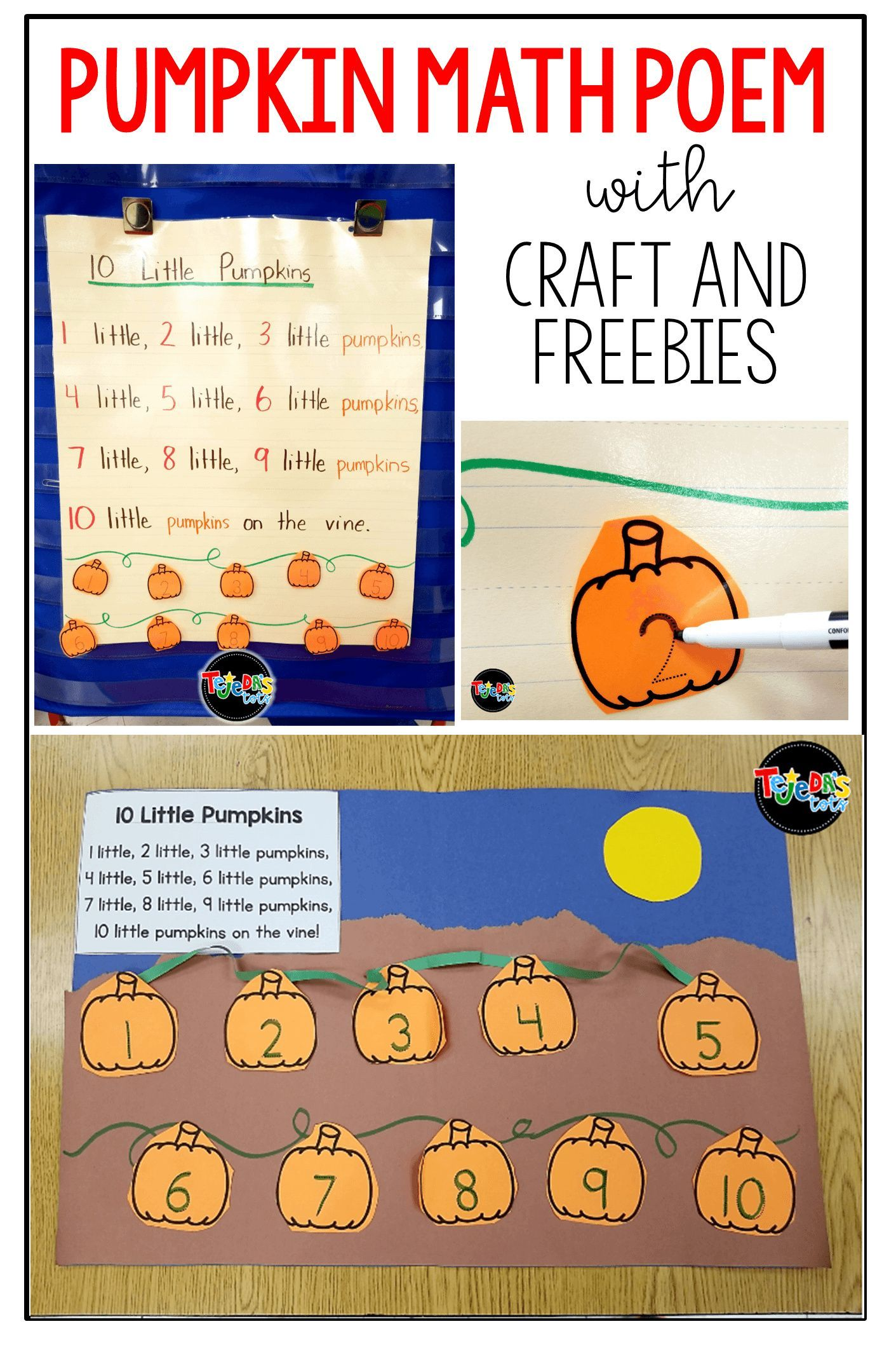 Pumpkin Math Poem For Counting And Ordering Numbers In