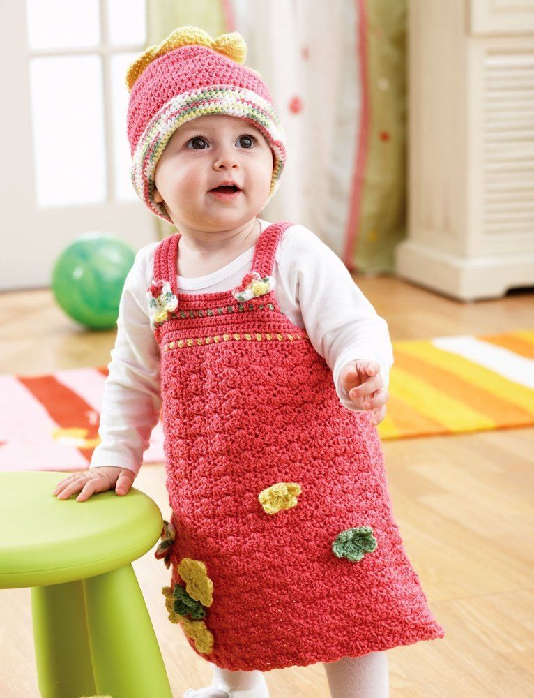 A-line Jumper and Hat in Bernat Softee Baby Solids Free ...