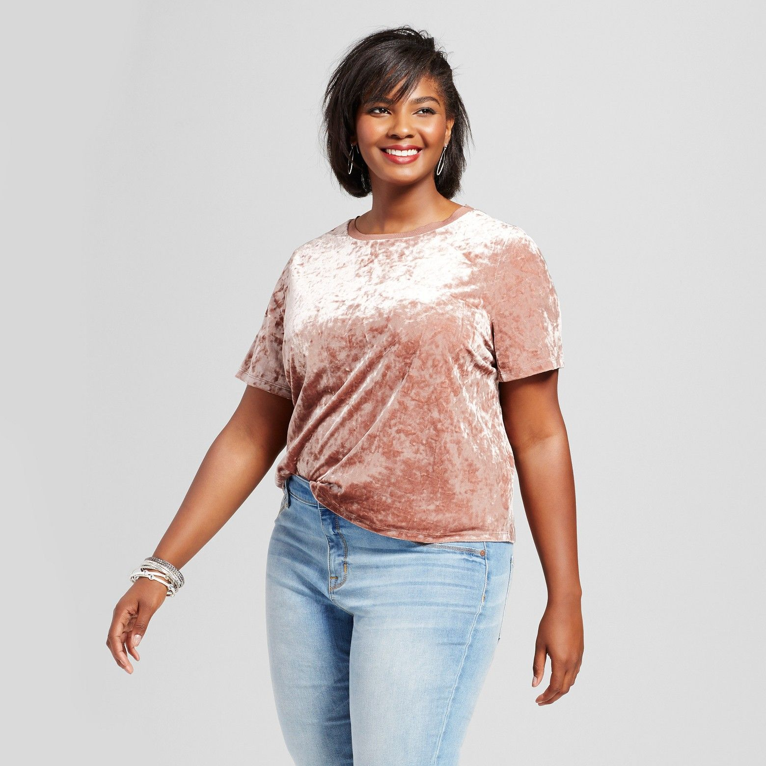Give your wardrobe some glitz and glamour with this Crushed Velvet T-Shirt from Ava & Viv™. You'll prove there's no limit to your daring style when you wear this trendy tee and shimmer in the light. Soft and comfortable with a retro crushed velvet vibe, it's fun to mix and match with distressed skinny jeans or with a skirt and some heels for a more dressed up look.